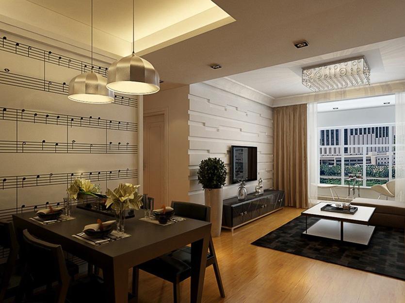 烟台家庭装修效果图—6.5万打造海峰小区87平米现代风格