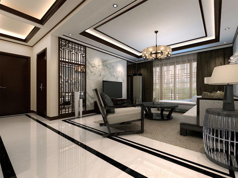 烟台家庭装修效果图—10万打造万光福园115平米中式风格